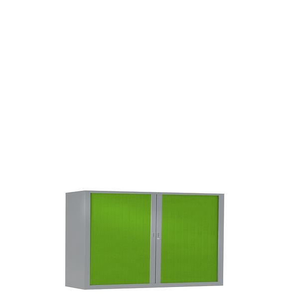 Armoire à rideaux bicolore 69.5 x 100 cm - Corps gris aluminium - Rideaux Color