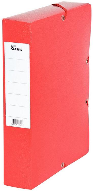 Boîte de classement en carte grainée, dos de 60 mm, coloris rouge