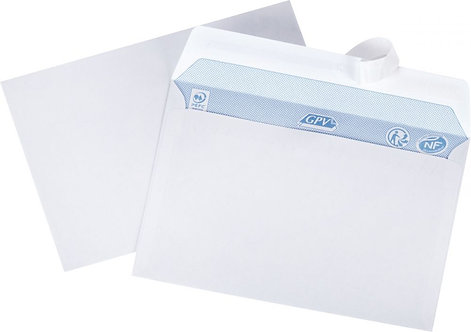 Boîte 500 enveloppes blanches C6 114x162 80g/m² bande de protection