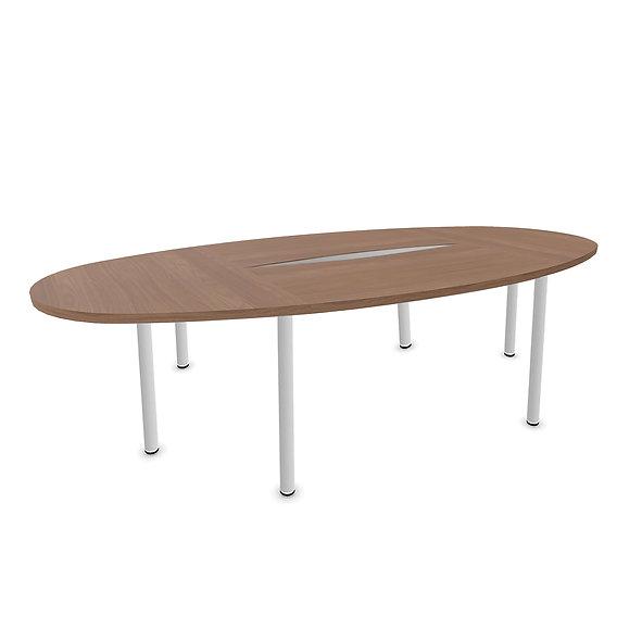 Table elliptique Woodwork - Piétement rond - Capacité 10 personnes