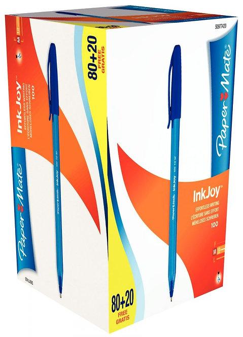 Boite de 100 stylos Inkjoy 100 bleus dont 20 gratuits