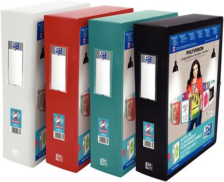 Boite classement personnalisable POLYVISION dos 8 cm 24x32 cm coloris assortis