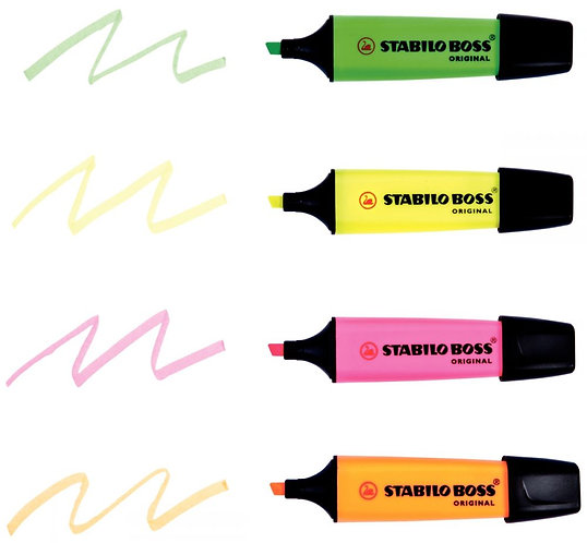 Pochette de 4 surligneurs STABILO BOSS encre universelle fluorescente assortis