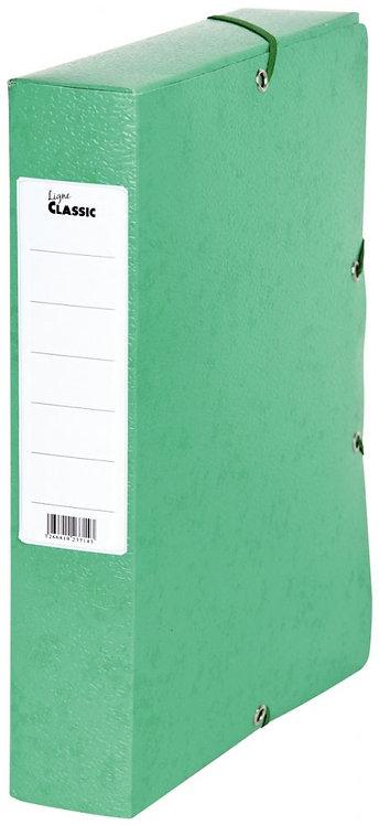 Boîte de classement en carte grainée, dos de 60 mm, coloris vert