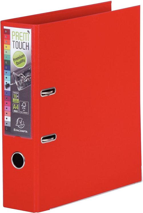 Classeur à levier en plastique PREM'TOUCH format A4 maxi dos 5 cm rouge