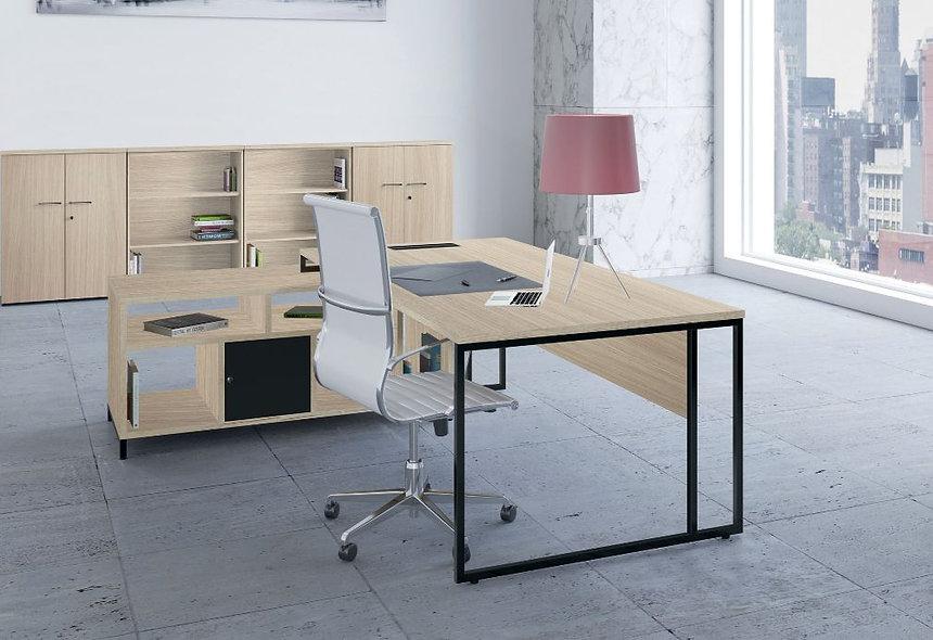 Bureau direction Straton+ L. 200 cm avec meuble service et bloc de rangement