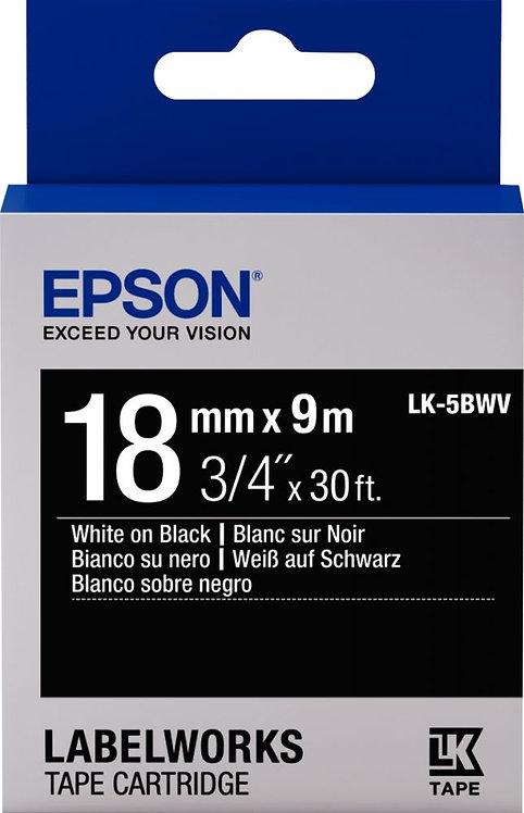 Recharge Epson  LK 18 mm x 9 m blanc sur noir