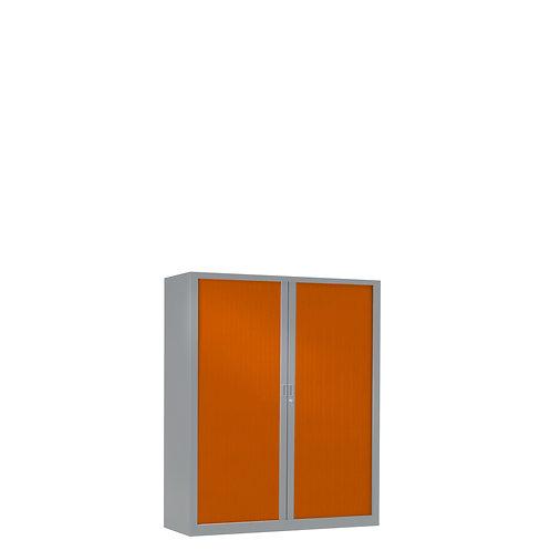 Armoire à rideaux bicolore 100 x 80 cm - Corps gris aluminium - Rideaux Color