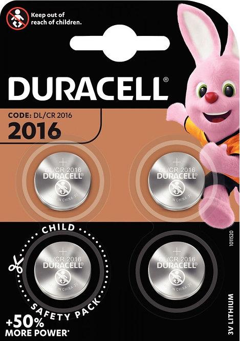 Blister de 4 piles lithium 3V CR2016 DURACELL