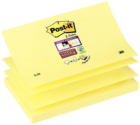 Bloc de 90 feuilles Z-Notes Super Sticky post-it, 76x127 mm, couleur : jaune
