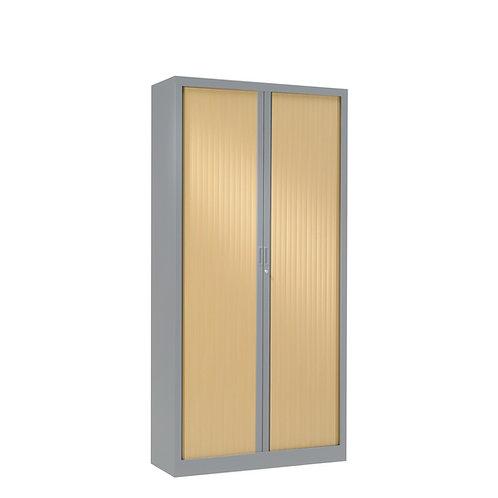 Armoire à rideaux bicolore 160 x 80 cm - Corps gris aluminium - Rideaux bois