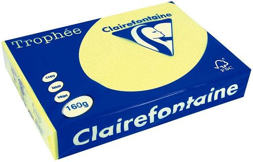 Paquet 250 feuilles papier 160g A4 jonquille TROPHEE CLAIREFONTAINE