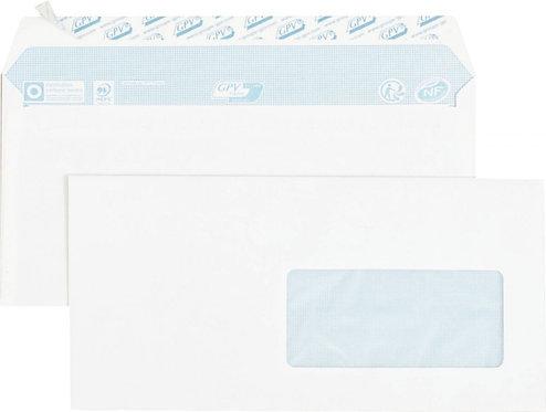 Boîte 70 enveloppes blanches DL 110x220 80g/m² bande siliconée fenêtre 45x100