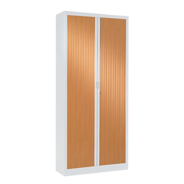 Armoire à rideaux bicolore 198 x 80 cm - Corps blanc - Rideaux bois