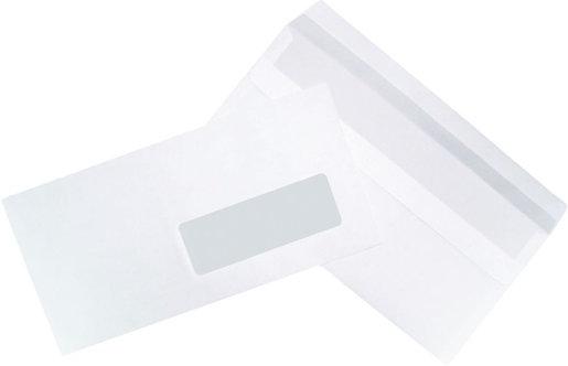 Boîte 500 enveloppes blanches DL 110x220 80g/m² fenêtre 35x100 autocollantes