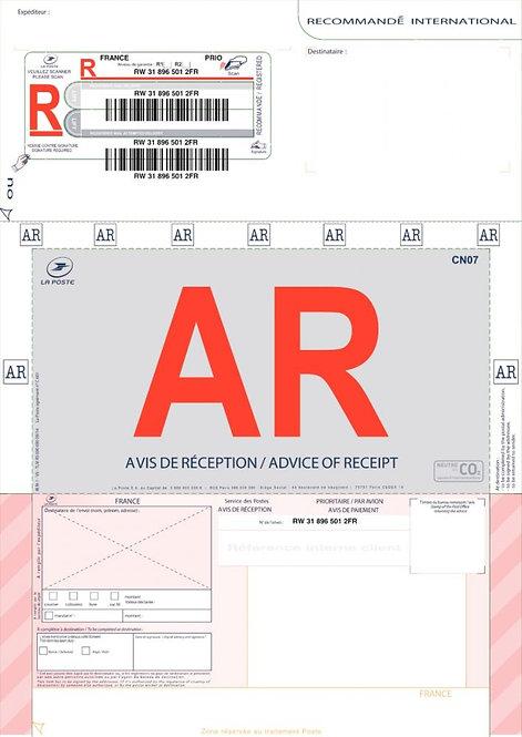 Boîte de 250 imprimés recommandés avec AR pour l'étranger