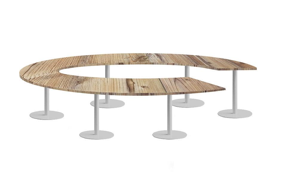 Table cercle JAROD - Capacité 10 à 14 personnes - Piétement Gris aluminium