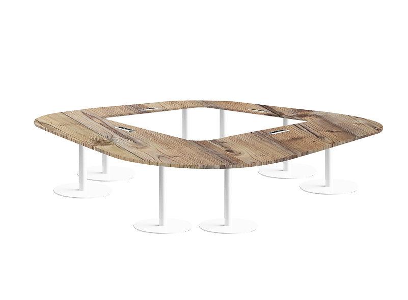 Table carrée JAROD - Capacité 12 à 16 personnes - Piétement Blanc