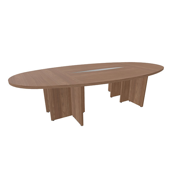 Table elliptique Woodwork - Piétement panneaux - Capacité 10 personnes