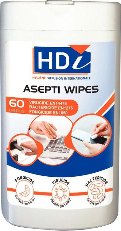 Boîte distributrice de 60 lingettes humides désinfectantes EN14476