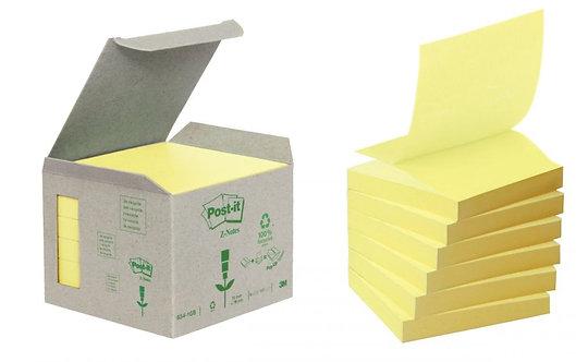 Boite de 6 blocs de 100 feuilles Z-Notes recyclée post-it 76 x 76 mm jaune