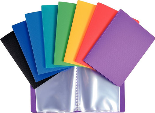 Protège-documents en polypropylène, format 11x15 cm, 40 vues, couleurs assorties