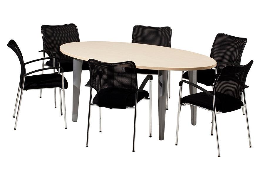 Table de réunion elliptique Allegrine - Piétement Gris aluminium
