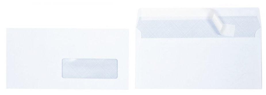 Boite 500 enveloppes blanches DL 110x220 80g/m² fenêtre 35x100 bande protection