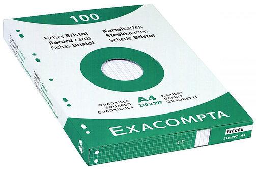 Etui 100 fiches bristol perforées carte forte 210g blanc quadrillé 5x5 21x29,7cm