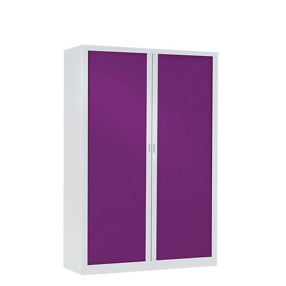 Armoire à rideaux bicolore 160 x 100 cm - Corps blanc - Rideaux Color