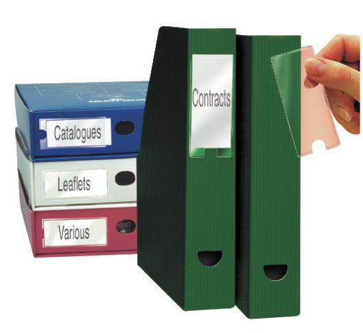 Blister de 12 porte-étiquettes adhésives en polypropylène format 35x75 mm