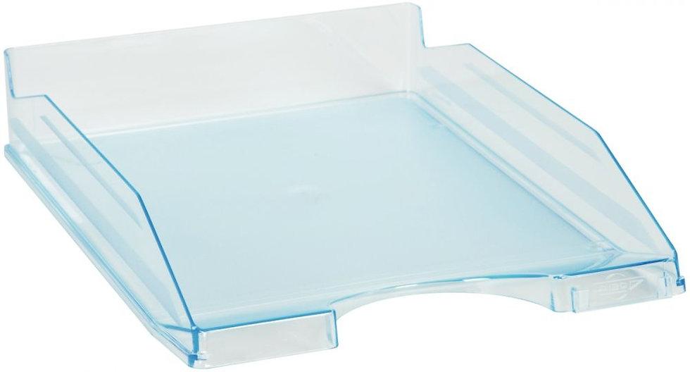 Corbeille à courrier translucide bleu