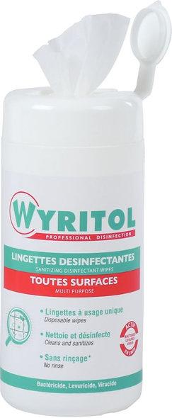 Boîte de 120 lingettes désinfectantes multi-usages 2 en 1 Wyritol