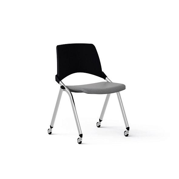 Chaise EMILE avec placet tissu piétement sur roulettes
