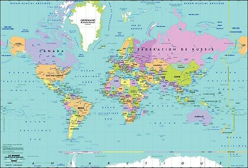 Sous main rigide carte le Monde 39.5x58.5cm