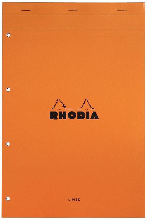Bloc de bureau RHODIA ligné 7mm, A4+80 feuilles blanc perforées 4 trous 80g