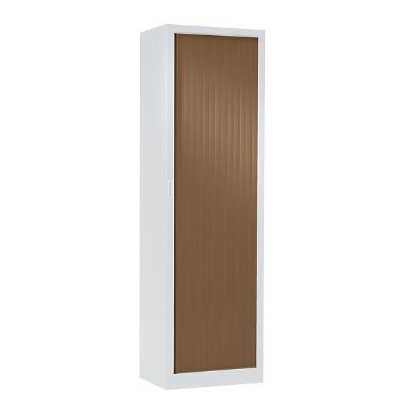 Armoire à rideaux bicolore 198 x 60 cm - Corps blanc - Rideaux bois