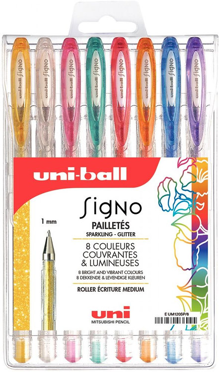 Pochette de 8 stylos gel Signo métallisés
