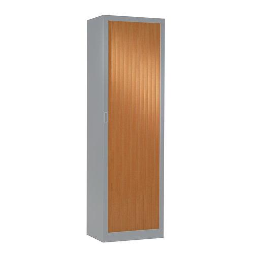Armoire à rideaux bicolore 198 x 60 cm - Corps Aluminium - Rideaux bois