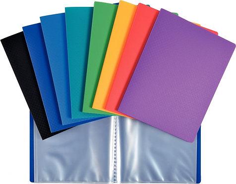 Protège-documents en polypropylène, format 17x22 cm, 40 vues, couleurs assorties