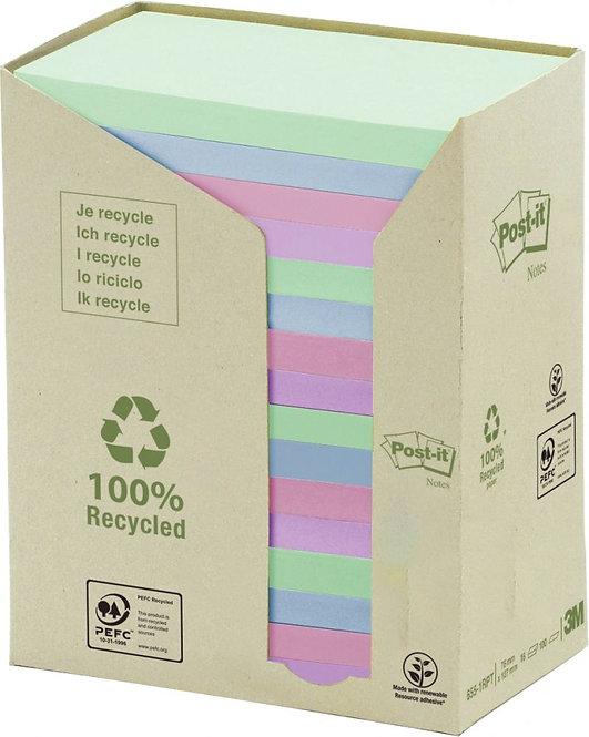 Tour distributrice 16 blocs 100 feuilles post-it recyclées 76x127 mm couleurs