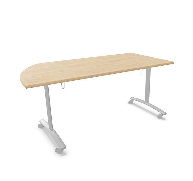 Table 1/4 rond basculante Athena - Piétement Gris aluminium