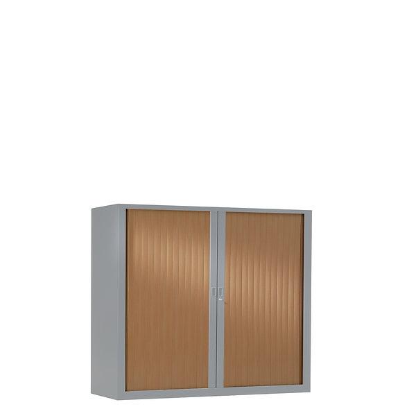 Armoire à rideaux bicolore 100 x 100 cm - Corps gris aluminium - Rideaux bois