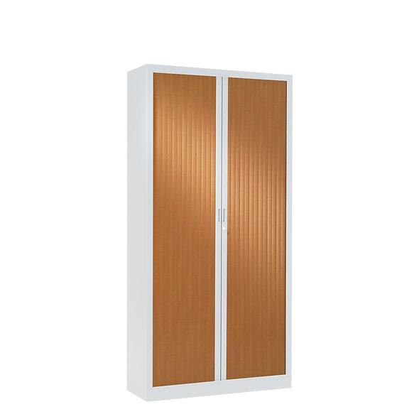 Armoire à rideaux bicolore 160 x 80 cm - Corps blanc - Rideaux bois