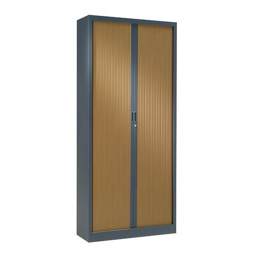 Armoire à rideaux bicolore 198 x 80 cm - Corps Anthracite - Rideaux bois