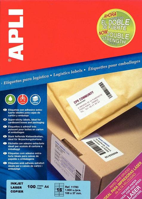 Boîte de 100 étiquettes adhésives extra fortes blanches A4
