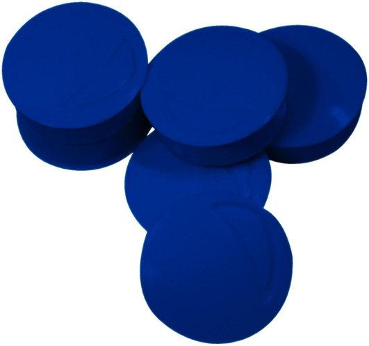 Blister de 6 punaises magnétiques, diamètre 22 mm.  Bleu
