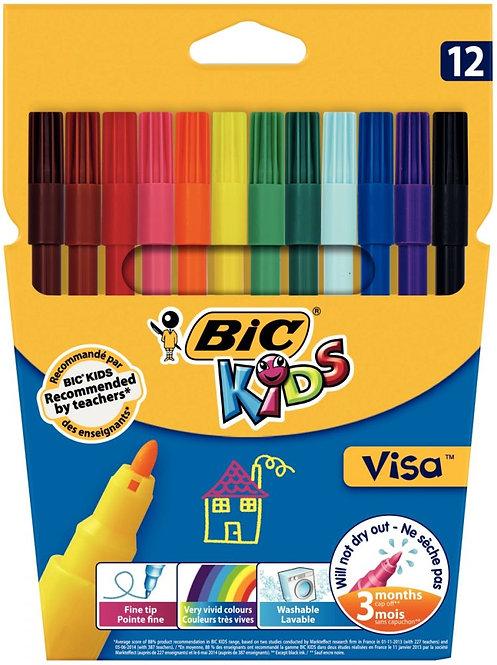 Lot de 25 pochettes de 12 feutres Visa 880 pointe fine couleurs assorties