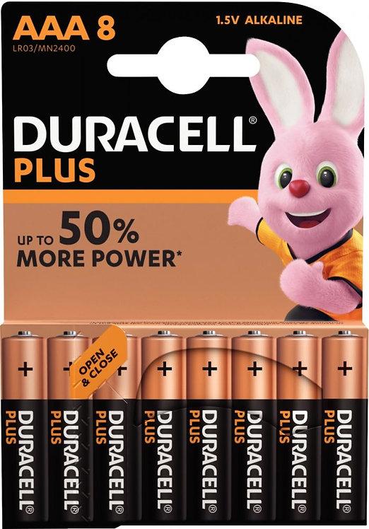 Blister de 8 piles 1.5 volts alcaline Ultra + LR03 E92 AAA