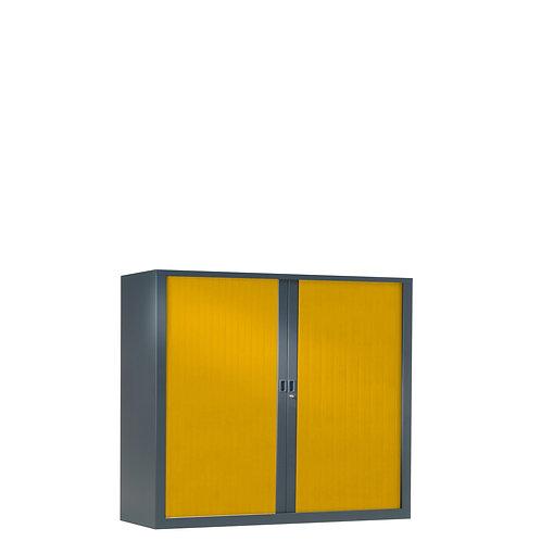 Armoire à rideaux bicolore 100 x 120 cm - Corps gris anthracite - Rideaux